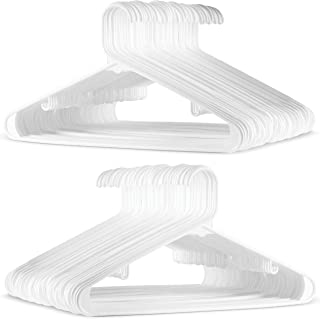 White Standard Plastic Hangers (60 PACK) Long Lasting Tubular Coat Hangers Plastic, Laundry & Dorm Room Hanger, Durable, Slim & Space Saving, Heavy Duty Clothes Hanger, Dress Notches, Strong Pants Bar
