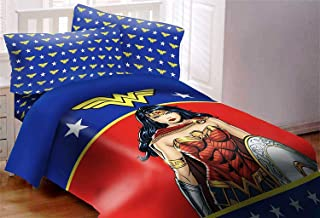 JPI DC Comics Wonder Woman Figure Luxury 3pc Comforter Set Reversible Super Soft Twin Size 68
