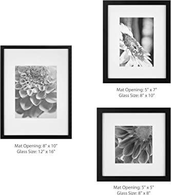Gallery Perfect Photo Kit with Decorative Art Prints & Hanging Template Gallery Wall Frame Set, 5 Piece, Black, 5 Piece