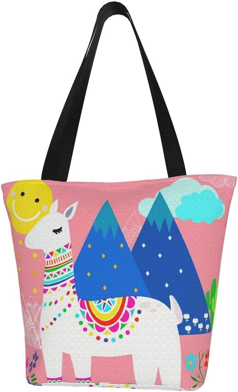 Llama Lovely Pink Sunflowers Themed Printed Women Canvas Handbag Zipper Shoulder Bag Work Booksbag Tote Purse Leisure Hobo Bag For Shopping