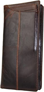 Le'aokuu Mens Genuine Leather Bifold Organizer Checkbook Card Case Wallet (Coffee)