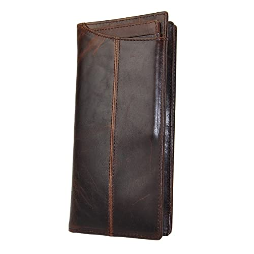 fcf97d192d30f Le aokuu Mens Genuine Leather Bifold Wallet Organizer Checkbook Card Case  (Brown ...