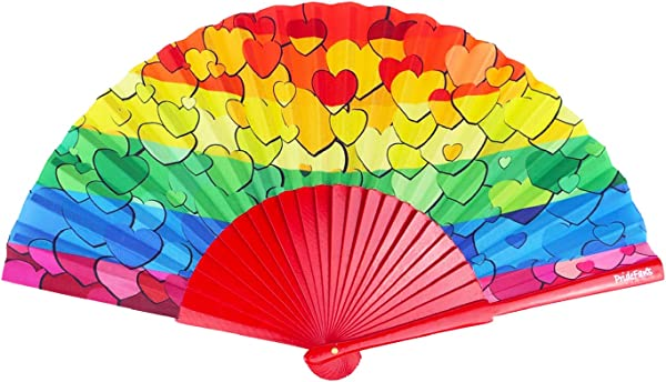 Pride Fans Rainbow Hearts Wood Vibrant Colors Durable Fabric Gay Rainbow Fan Folding Fan LGBTQ Wedding Gift