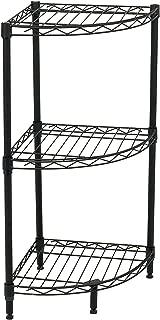 Internet's Best 3-Tier Corner Wire Shelving | Black | Heavy Duty Shelf | Adjustable Rack Unit