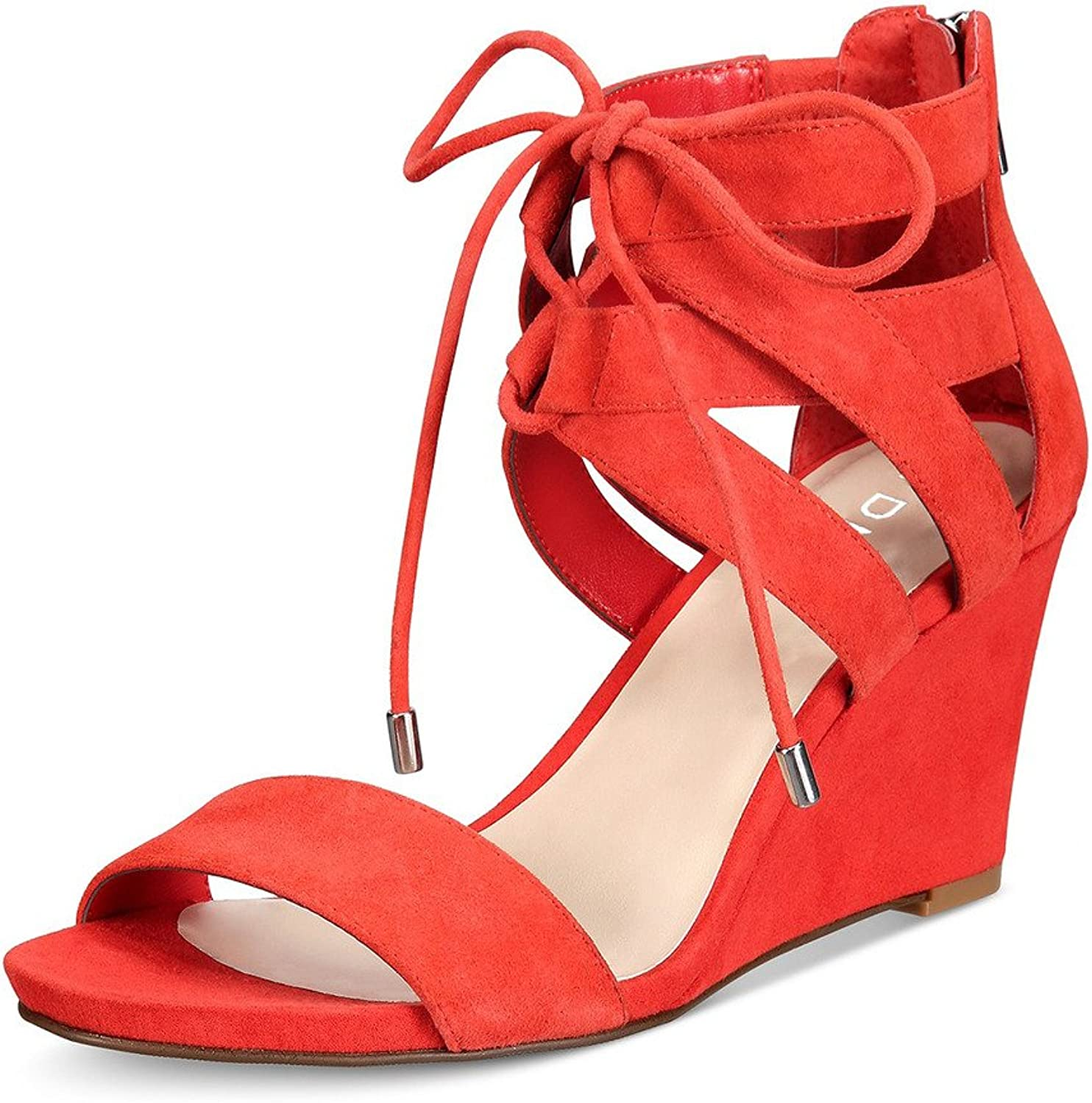 YDN Women Sexy Lace-up Ankle High Wedges Sandals Open Toe Mid Heels shoes with Zipper