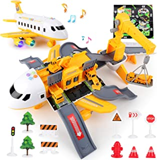 Construction Toys Set with Transport Cargo Airplane,Kids Airplane Toy with Sound and Light,Including Construction Educatio...