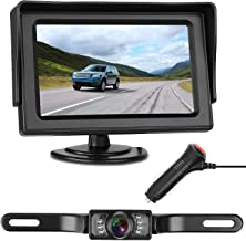 LeeKooLuu Backup Camera and 4.3 Monitor Single Power Kit IP68 Waterproof 150°Viewing Angle Rear View Camera Super Night Vision Parking Lines for Car/RV/Truck/Pickup/Van
