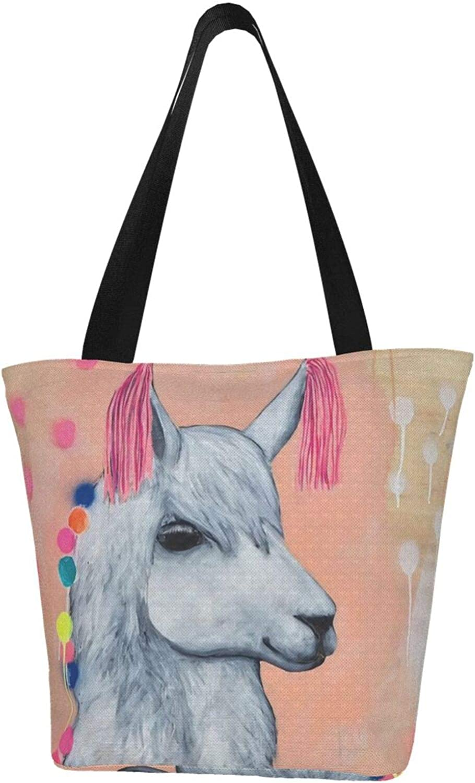 Llama Art Painting National Style Themed Printed Women Canvas Handbag Zipper Shoulder Bag Work Booksbag Tote Purse Leisure Hobo Bag For Shopping