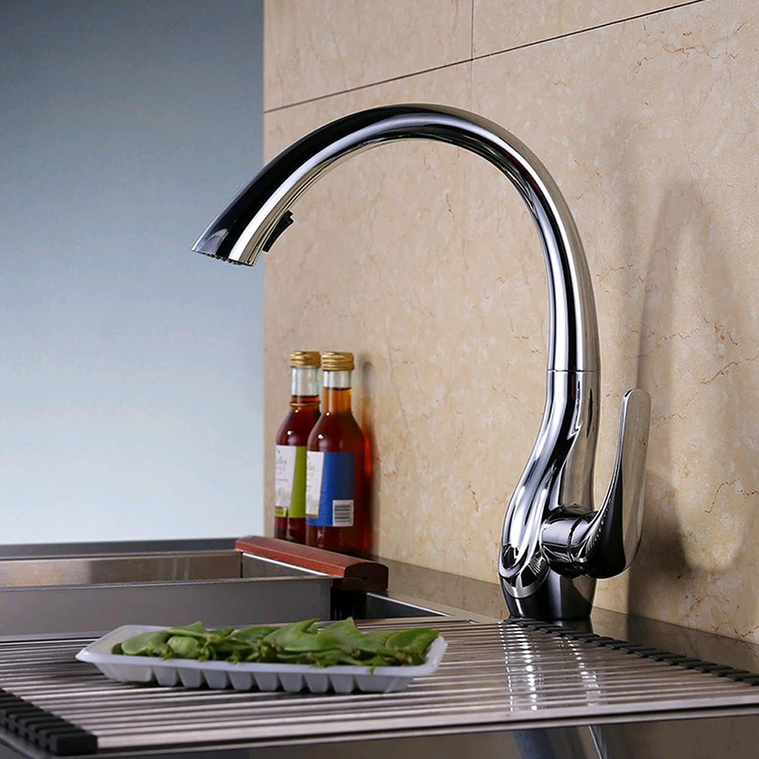 BingHaiY 360 ?? sink faucet kitchen pull faucet hot and cold faucet lift type easy to install European kitchen faucet