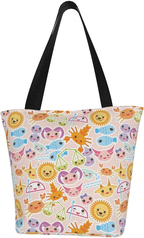 Cartoon Leo Cancer Zodiac Constellation Stars Themed Printed Women Canvas Handbag Zipper Shoulder Bag Work Booksbag Tote Purse Leisure Hobo Bag For Shopping
