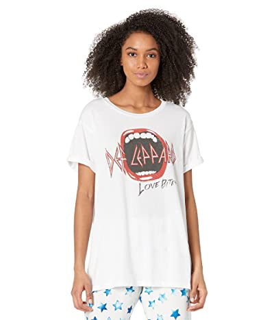 Chaser Def Leopard Love Bites Recycled Vintage Jersey Rolled Short Sleeve Tee