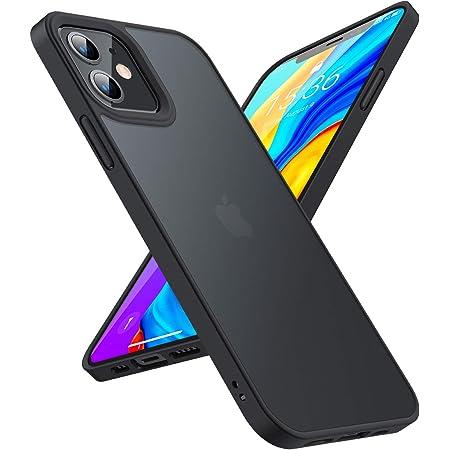 TORRAS 半透明 iPhone 12 用ケース iPhone 12 Pro 用ケース 米軍MIL規格取得 衝撃吸収マット感 ストラップホール付き SGS認証 黄ばみなし レンズ保護 6.1インチ アイフォン12 用 12 Pro用カバー ブラック
