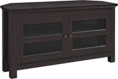"""WE Furniture Modern Farmhouse Wood Corner Universal Stand for TV's up to 50"""" Flat Screen Living Room Storage Entertainment Center, 44 Inch, Espresso"""