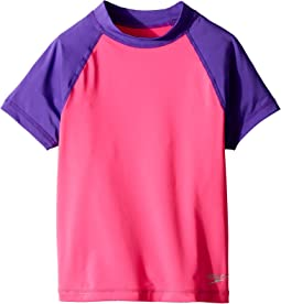 Speedo Kids Short Sleeve Color Block Rashguard (Big Kids)