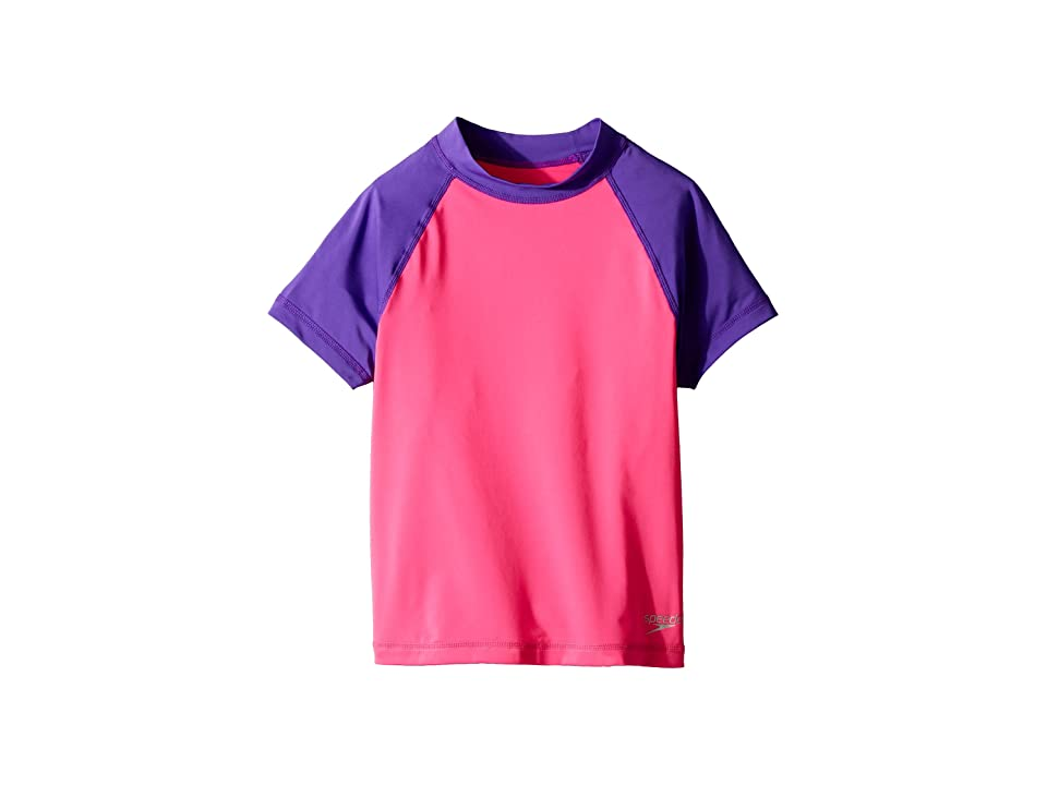 Speedo Kids Short Sleeve Color Block Rashguard (Big Kids) (Pink) Girl