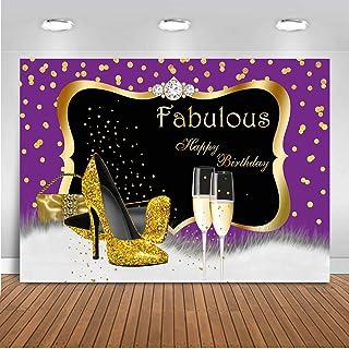 Mocsicka Fabulous Birthday Hintergrund 2,1 x 1,5 m Lila Gold Geburtstag Fotografie Hintergrund für Frauen Gold High Heels Champagner Gold Lila Geburtstag Fotografie Hintergrund