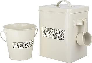 CrazyGadget Vintage-Waschpulver-Metall-Aufbewahrungsbox, klassischer Retro-Waschmittel-Container und Schaufel mit Wäscheklammer-Eimer-Set, Cremefarben