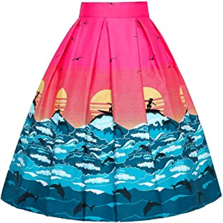 JUSSON Women's Skirt Printed Pleated Skirt Midi Skirt Cotton Fabric-sunrise