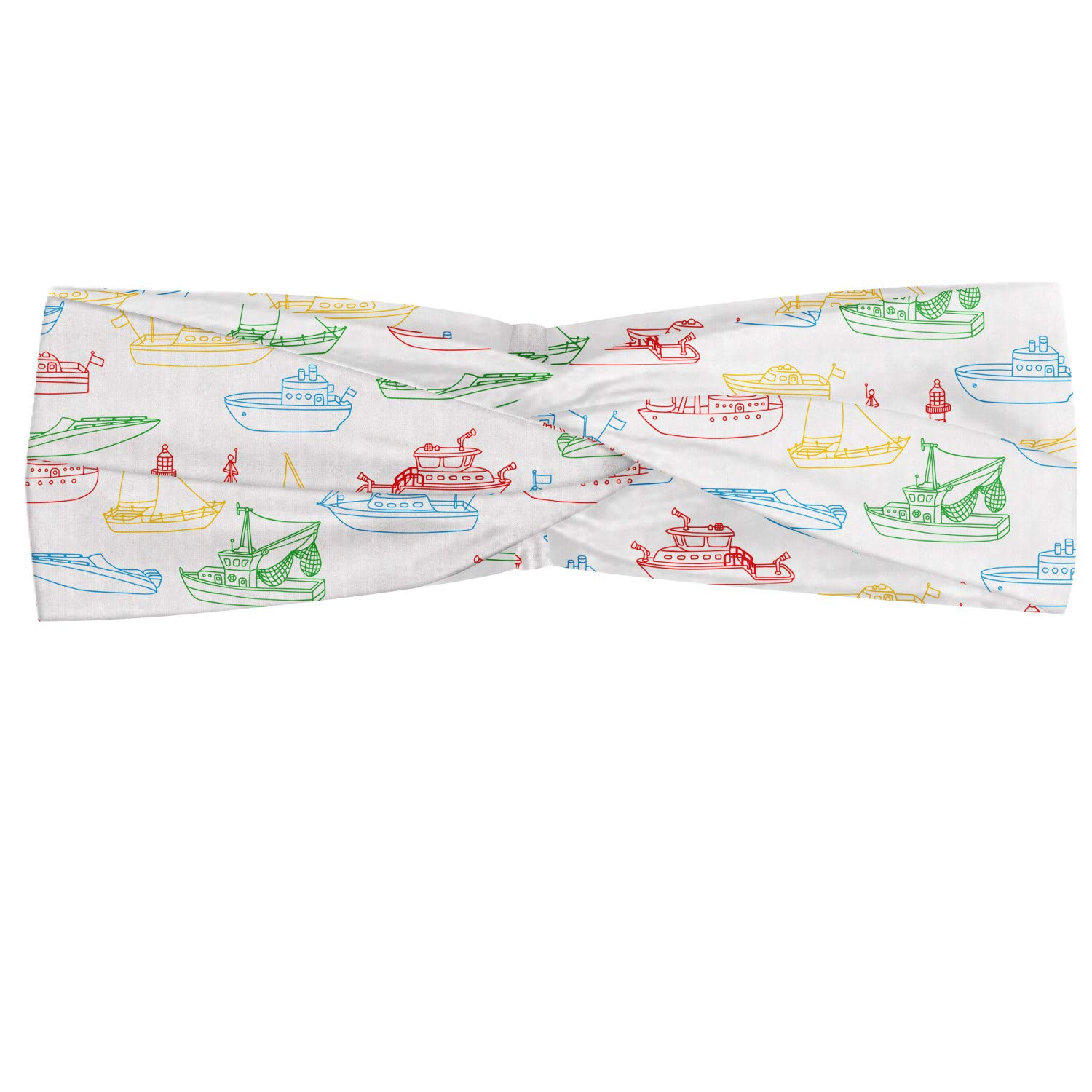 Ambesonne Marine Headband, Colorful Outline Nautical Themed Various Vehicles, Elastic and Soft Women's Bandana for Sports and Everyday Use, Multicolor