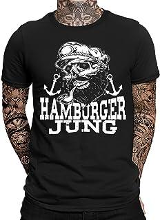 Hamburger Jung Hamburg T-Shirt   Moin Moin Hamburg   Lustig   Fun   Spaß   Kiez   Reeperbahn   Elbe   Hafencity   Norddeutsch   Ostsee   Anker   Seemann   Sailor   Bart   Herren   Männer t Shirt