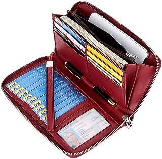 BOSTANTEN Leather Wallets for Women RFID Blocking Zip Around Credit Card Holder Phone Clutch Wristlet
