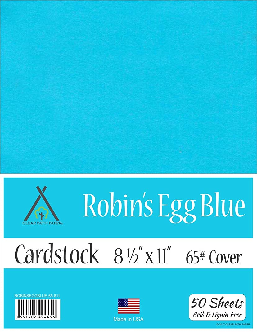 Robins Egg Blue Cardstock - 8.5 x 11 inch - 65Lb Cover - 50 Sheets
