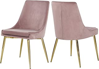 Meridian Furniture Karina Collection Pink Modern   Contemporary Velvet Upholstered Dining Chair with Polished Gold Metal Legs, Set of 2, 19.5