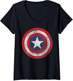 Womens Marvel Captain America Classic Shield Portrait V-Neck T-Shirt