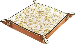 ATOMO Plateau de rangement en cuir - Motif abeille - Pour clés, bijoux, pièces de monnaie, articles divers, etc
