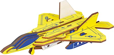 BestPysanky 23 Pieces Lockheed Martin F-22 Raptor Jet Model Kit - Wooden Laser-Cut 3D Puzzle