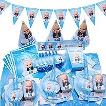 لوازم حفلات أعياد الميلاد ذات الطابع الكرتوني للأطفال عالية الجودة سلسلة بوس الزرقاء أدوات المائدة للاستعمال مرة واحدة مجم...