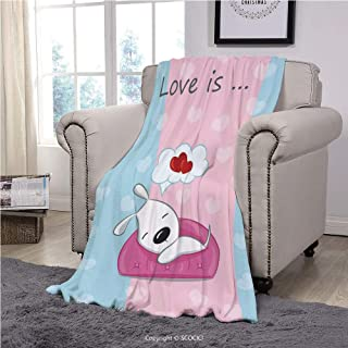 Kids Velvet Plush Throw Blanket Super Soft And Cozy Fleece Blanket, Dog Lover Decor,Puppy Dreaming On The Sofa With Heart Symbol On Background Valentine Artwork,Blue White, Perfect For Couch Sofa Or B