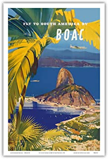Fly to South America - by BOAC (British Overseas Airways Corporation) - Rio De Janeiro, Brazil - Vintage Airline Travel Poster by Frank Wootton c.1950 - Master Art Print - 12in x 18in