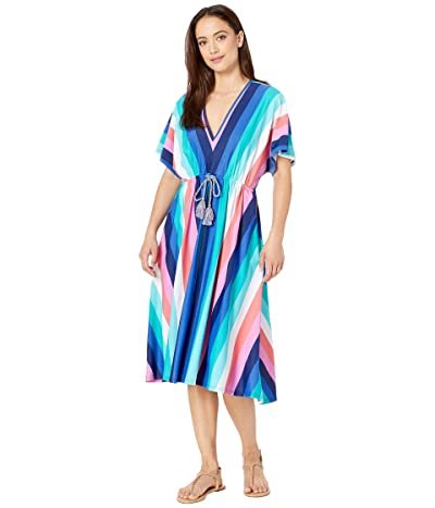 Cabana Life Color-Block Coverluxe Tie Waist Midi Dress Cover-Up (Multi) Women