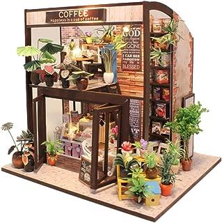 CuteBee Dollhouse Miniature with Furniture, DIY Wooden Dollhouse Kit, 1:24 Scale Creative Room Idea (Coffee House)