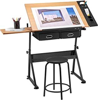 Kealive Drawing Table Height Adjustable Drafting Desk Tiltable Tabletop and Thick Padding Stool, Art Desk Storage Table 2 Drawers Side Board for Reading, Writing, Drawing Art Craft Work Station