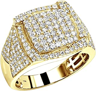 Mens Pinky Ring 10K Rose, White or Yellow Gold Diamond Band 1.75ctw by Luxurman