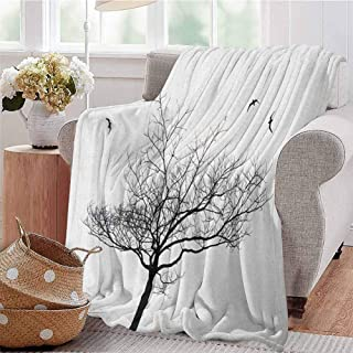 Luoiaax Black and White Children's Blanket Silhouette of A Tree and Flying Birds Simple Minimalistic Design Artwork Lightweight Soft Warm and Comfortable W60 x L70 Inch Black White