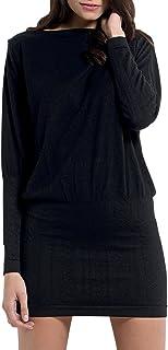 SENSI' Vestito Donna Collo Barchetta Abito Manica Lunga Lana Viscosa Traspirante Senza Cuciture Seamless Made in Italy
