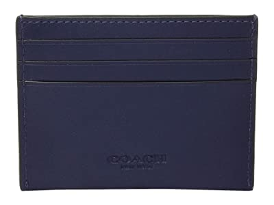 COACH Boxed Leather Card Case Featuring Motif (Blue) Bill-fold Wallet