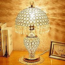 Augrous LED tafellamp kristal lampenkap dubbele schakelaar bediening nachtkastje bureaulamp met metalen basis voor de woon...