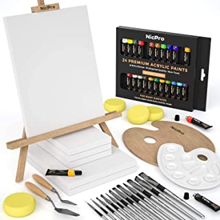 Nicpro Complete Acrylic Canvas Painting Kit, Beginner Art Set Including 24 Rich Pigment Colors (12ml) 12 Brushes, 6 PCS Ca...