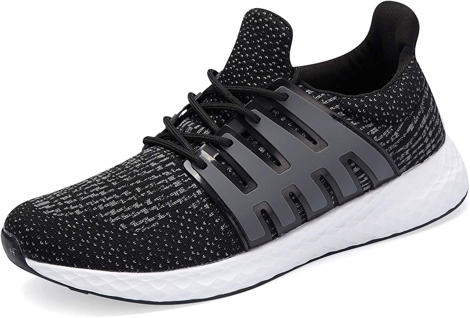 WXQ Men's Running shoes Fashion Breathable Sneakers Mesh Soft Sole Casual Athletic Lightweight Walking shoes Black 46
