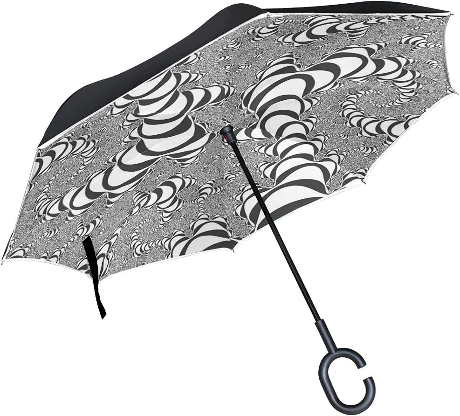 Double Layer Ingreened Fractal Abstraction Abstract Digital Graphic 298461 Umbrellas Reverse Folding Umbrella Windproof Uv Predection Big Straight Umbrella for Car Rain Outdoor with CShaped Handle