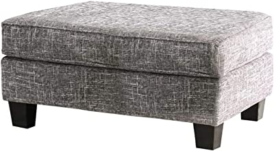 Benjara Fabric Upholstered Wooden Ottoman with Tapered Legs, Gray