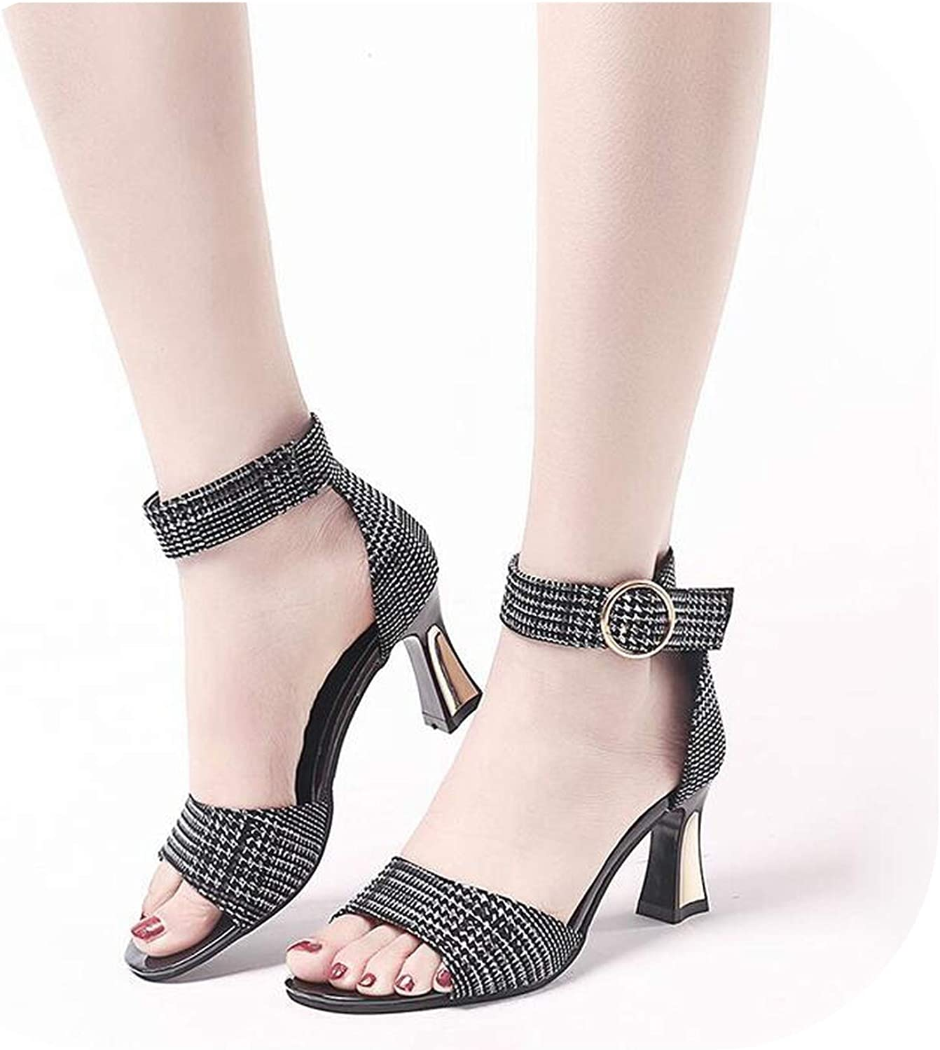 Gooding Day 2019 Summer Women PU Leather Sandals High Heels Buckle Strap Female Fashion Dress Woman Sandal shoes