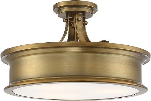 "high quality Savoy 2021 House 6-134-3-322 Watkins 3-Light Warm Brass 2021 Semi Flush (16"" W x 10""H) outlet online sale"