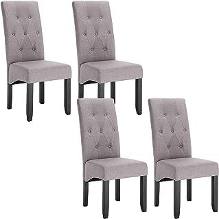 WOLTU 4 X Chaises de Salle à Manger Chaises de Cuisine Gris Clair,Chaise Salon à Manger Assise en Lin et Pied en Bois Mass...