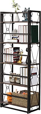Amazon Com Ironck Industrial Bookshelf Double Wide 6 Tier Open Large Bookcase Wood And Metal Bookshelves For Home Office Easy Assembly Kitchen Dining