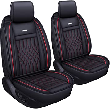 LUCKYMAN CLUB 2 pc Auto Car Seat Covers Fit Most Sedan SUV Truck Nicely Fit for Sportage NIRO Optima Forte Soul Rio Sentra Altima Maxima Xterra(Black &Red 2 PCS: image